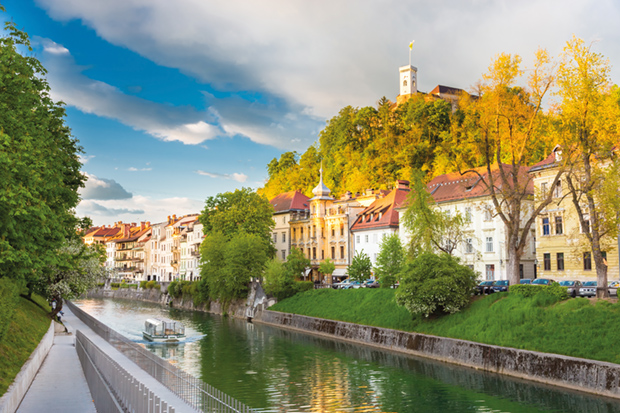 Medieval houses of Ljubljana, Slovenia, Europe.
